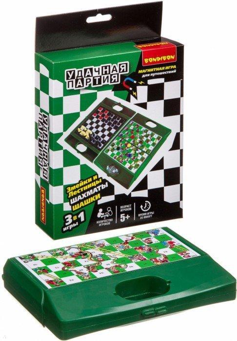 Настольная 3в1 (шахматы, шашки, змейки и лестницы)