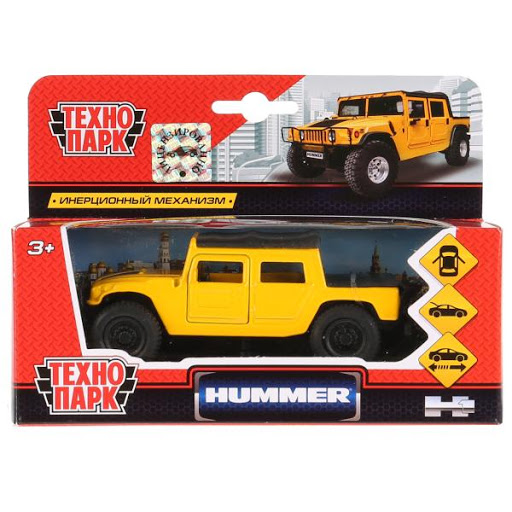 Машина Hummer H1 Пикап желтый 12см, открыв. двери, инерц.