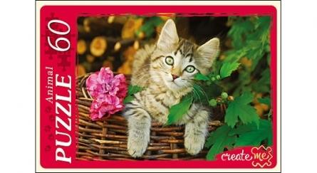 Пазл 60 Кот в корзине