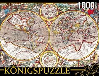 Пазл 1000 Konigspuzzle Древняя карта мира