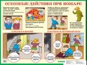 Плакат Основные действия при пожаре: Наглядное пособие для начальной  школы