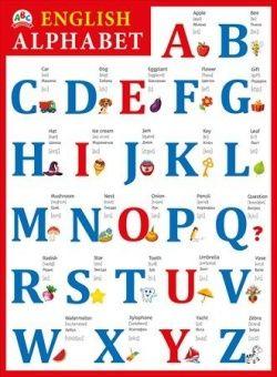 Плакат English Alphabet (Английский алфавит) А2, вертик красная рамка