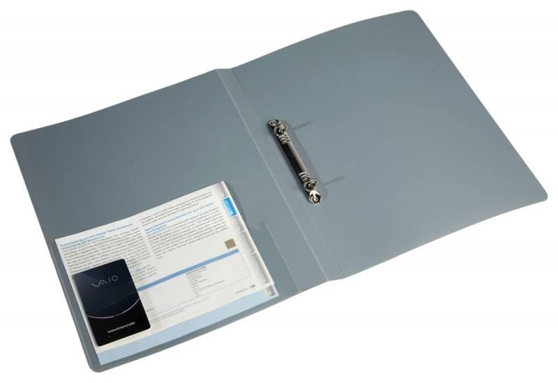 Папка с 2 кольцами 18мм Бюрократ серый + карман 0,7мм
