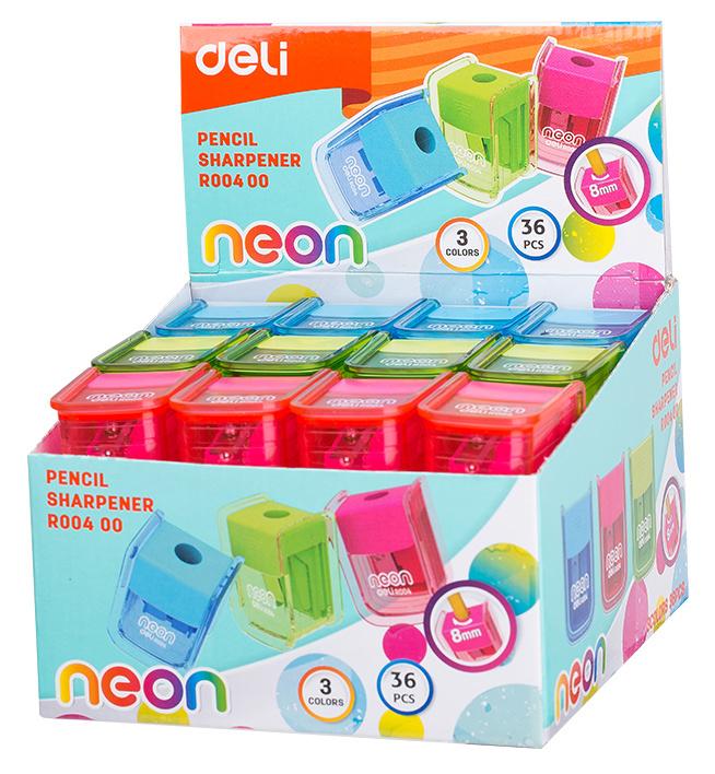 Точилка Deli Neon 1 отв пластик ассорти