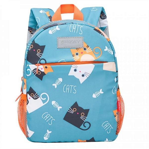 Рюкзак детский Grizzly Коты с рыбой голубой 22*28*10
