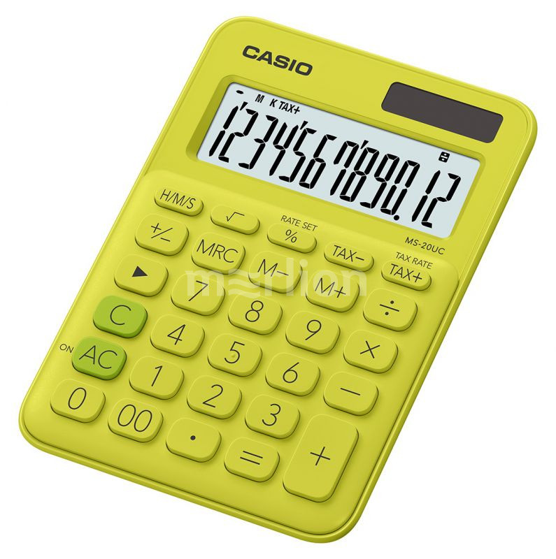 Калькулятор 12 разр. Casio настольный желтый/зеленый