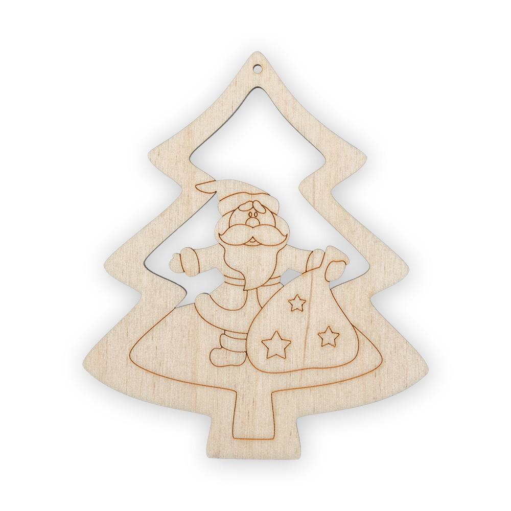 Заготовка НГ дерево Дед Мороз 8см (со звездами)