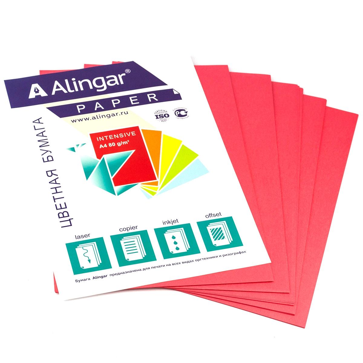 Бумага А4 цветная 50л красная 80г/м2