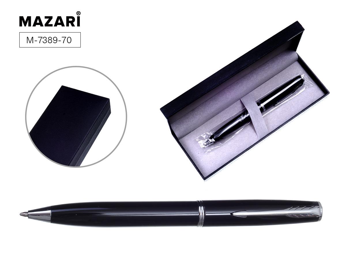 Ручка подар. Ostin шарик поворот 0.7 метал корп черн +золото футляр