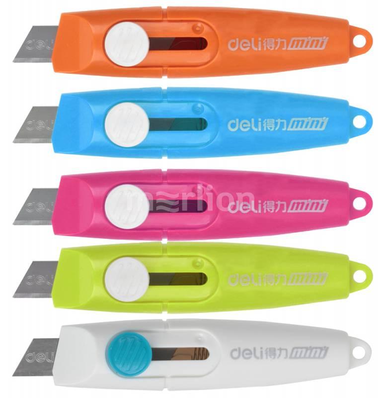Нож 9мм Deli Vivid Mini фиксатор сталь ассорти блистер