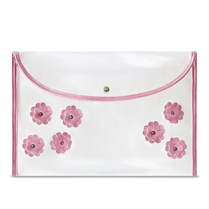 Папка на кнопке А4 Розовые цветы