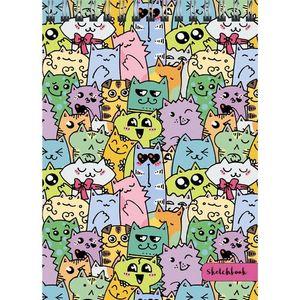 Скетчбук 125*160мм 40л спир Разноцветные коты 100гр