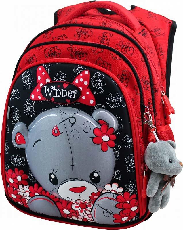 Рюкзак панцирный Winner Медвежонок в цветах + брелок мишка