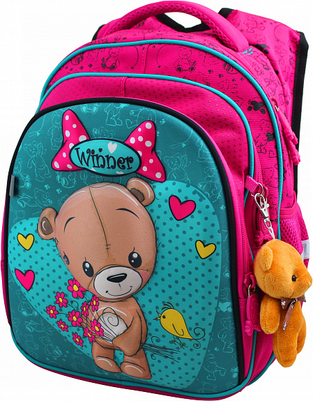 Рюкзак панцирный Winner Медвежонок с букетом + брелок мишка