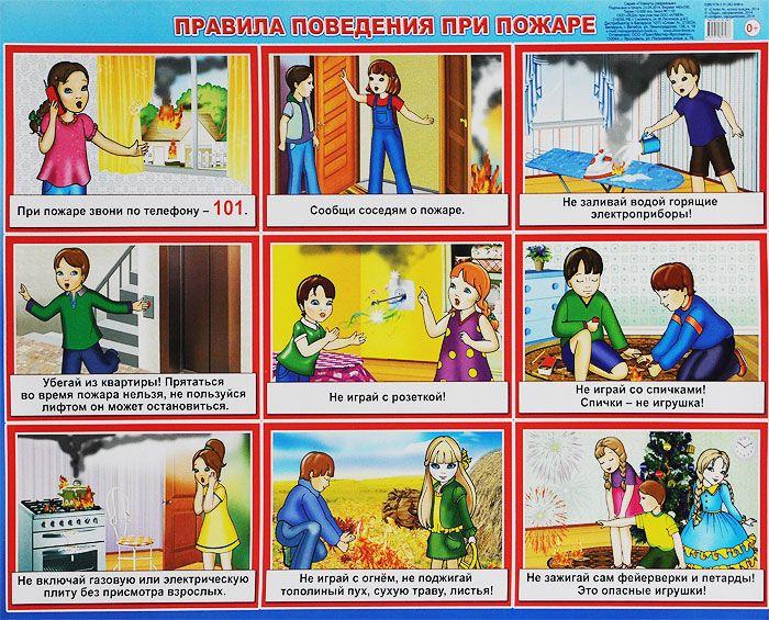Плакат Правила поведения при пожаре