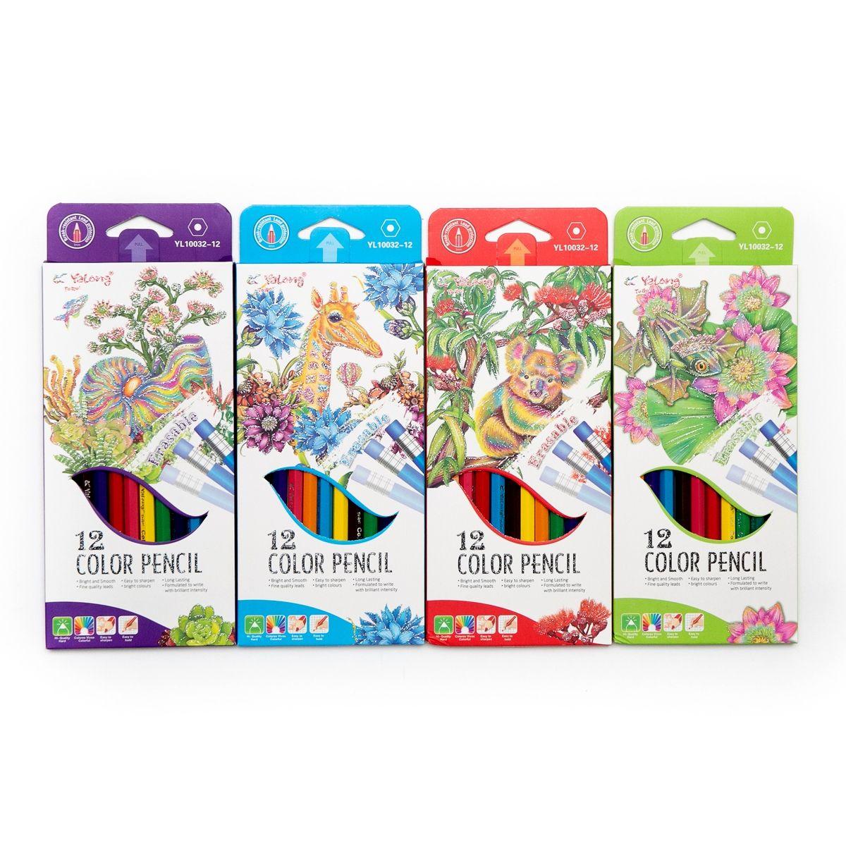 Карандаши цветные 12 цв Yalong пластиковые + ластик к/к