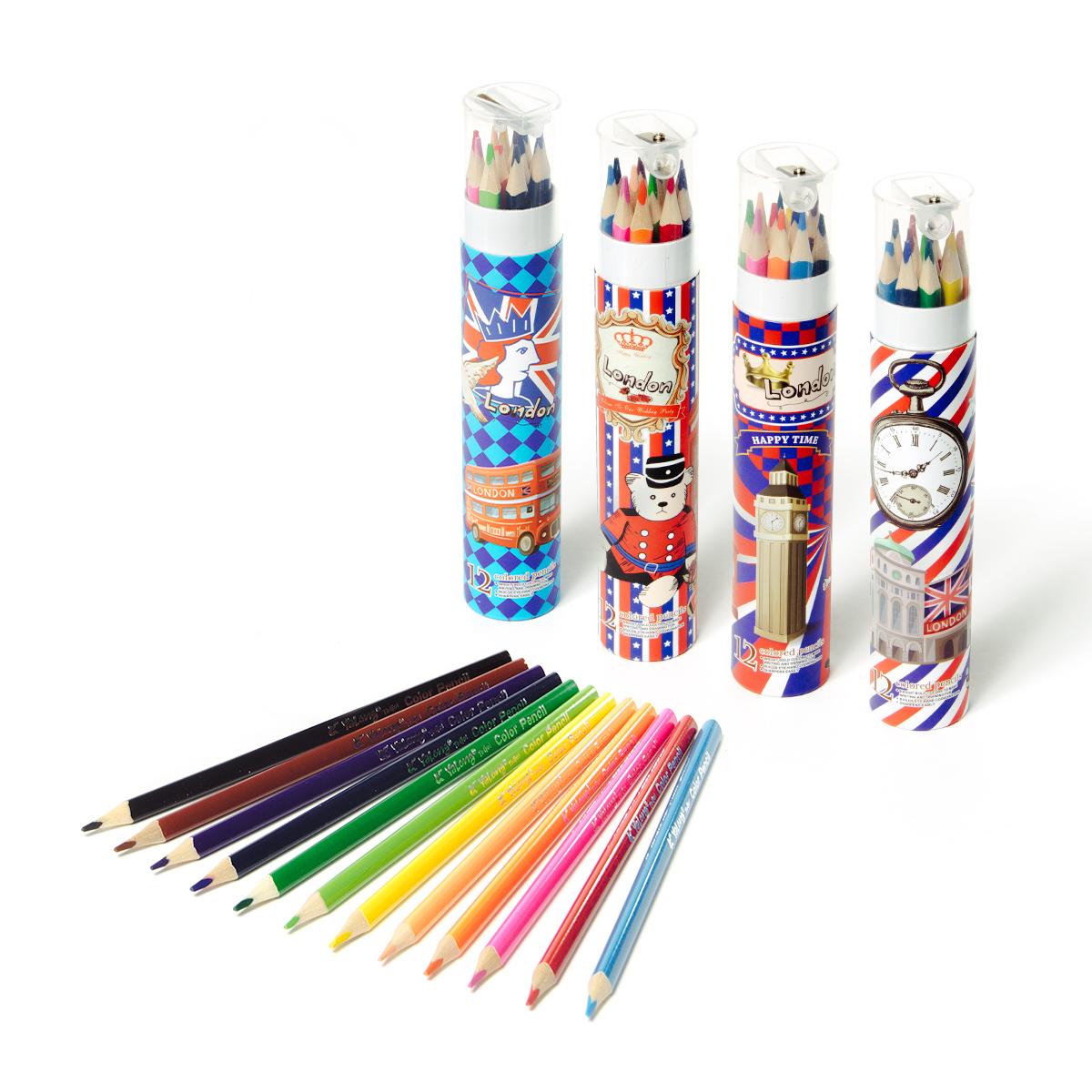 Карандаши цветные 12 цв Yalong трехгр + точилка металл. тубус