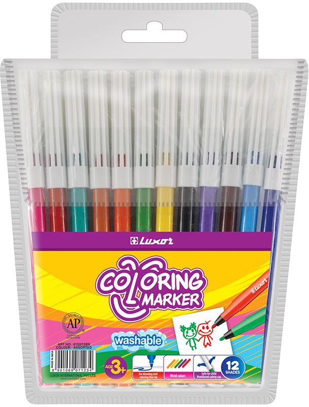 Фломастеры 12 цв Luxor Coloring пл/уп