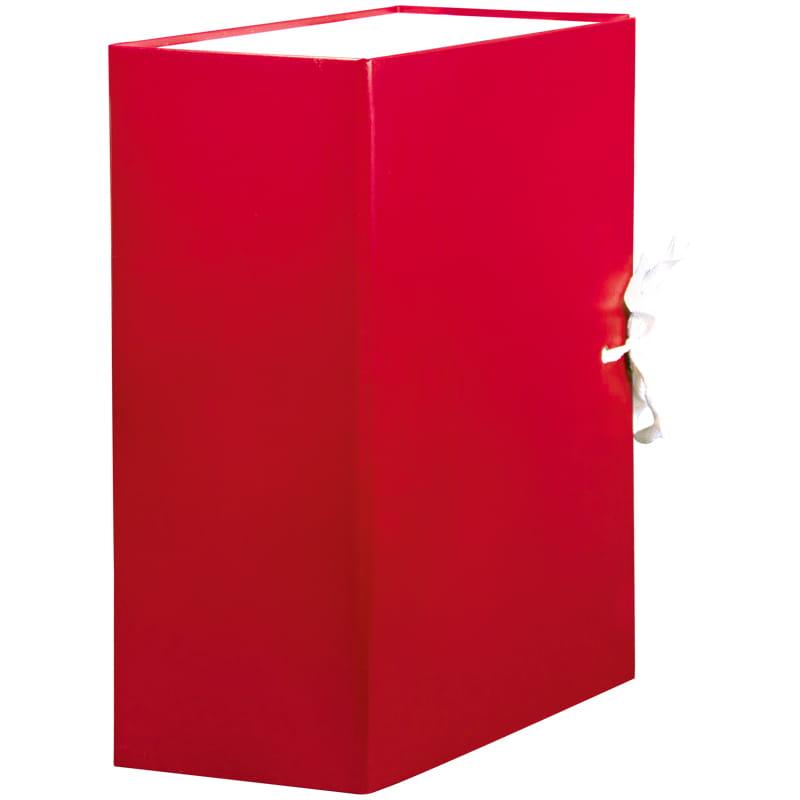 Папка архивная 120мм на завязках бумвинил красный (жесткие клапаны)