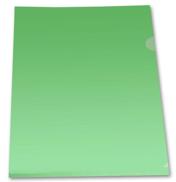 Папка-уголок 1 отд Бюрократ зеленый прозр 0.10мм