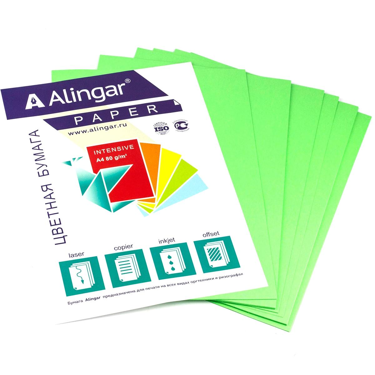 Бумага А4 цветная 50л зеленая 80г/м2