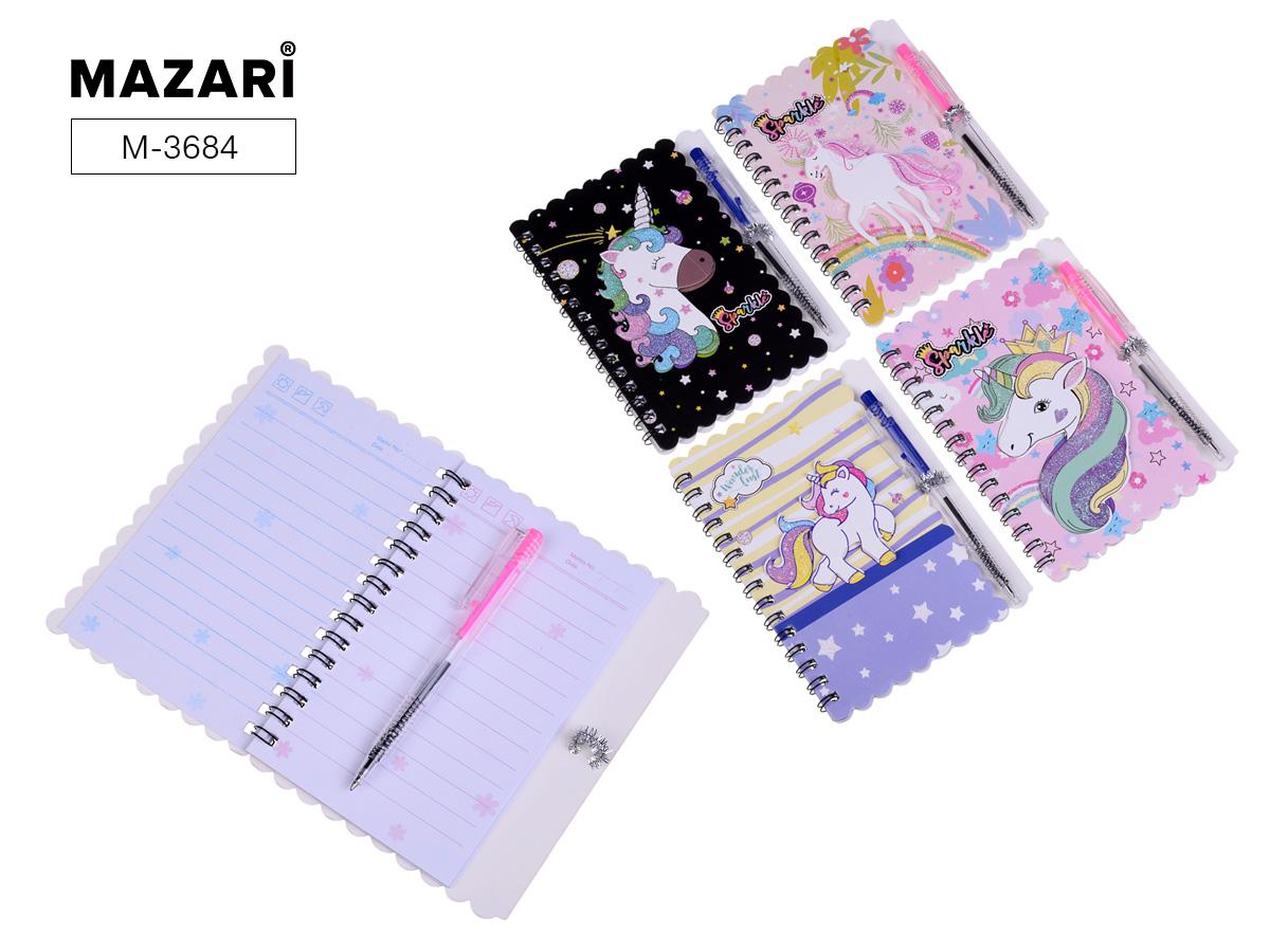 Зап. книжка А6 60л спир Mazari Unicorn  + ручка