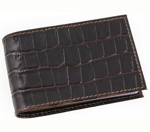 Визитница Miland 18л 36 карты тёмно-коричневый крокодил (натур.кожа)
