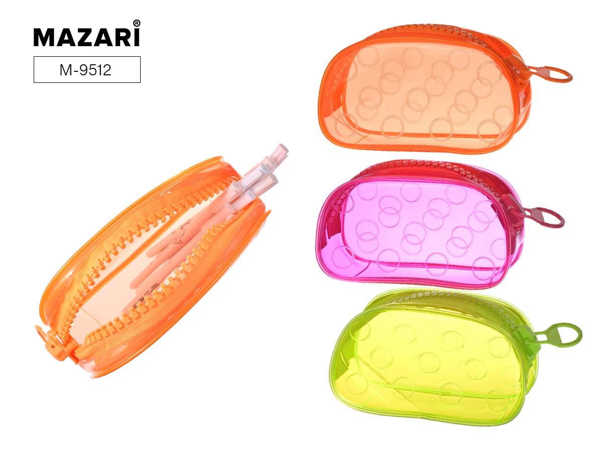 Пенал-косметичка Mazari Circles прозр ассорти 3 цвета ПВХ