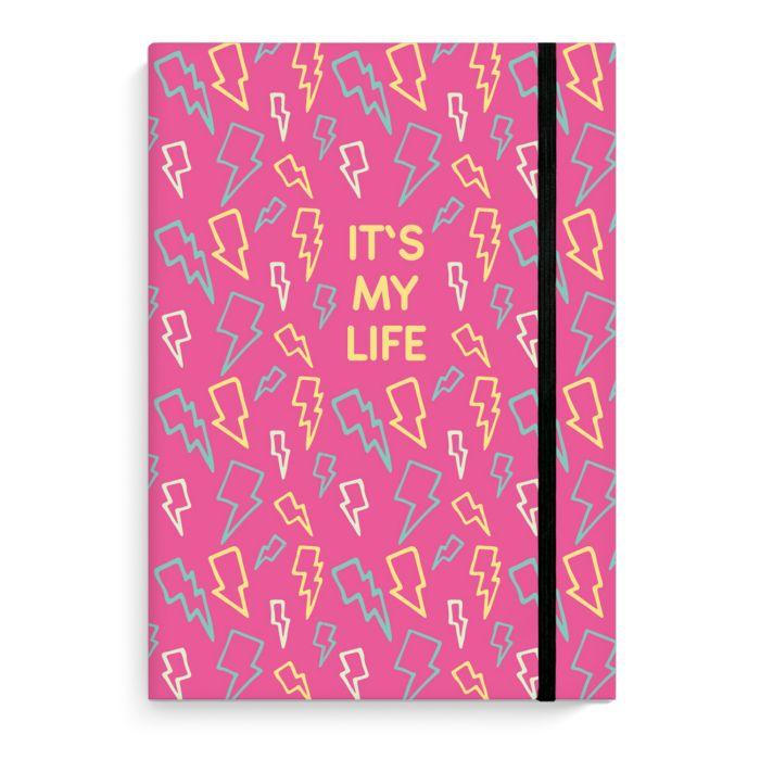 Зап. книжка А5 96л Это моя жизнь Цветные молнии на резинке