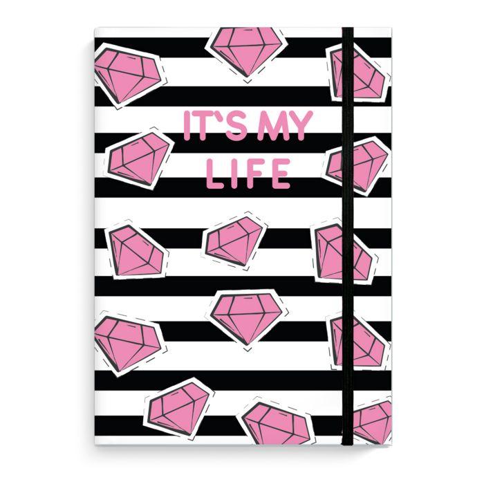 Зап. книжка А5 96л Это моя жизнь Бриллианты цветные алмазы на резинке