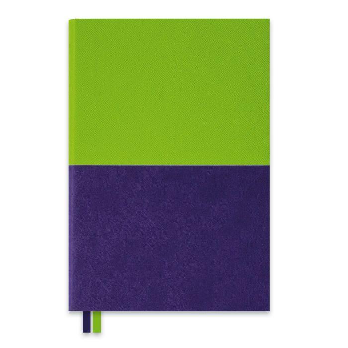 Ежедневник А5 Escalada Сафьян зеленый + софт-тач фиолетовый