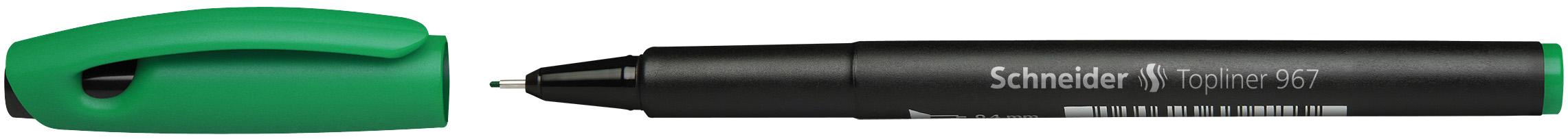 Ручка капиллярная Schneider Topliner 967 зеленая корпус черный 0.4мм