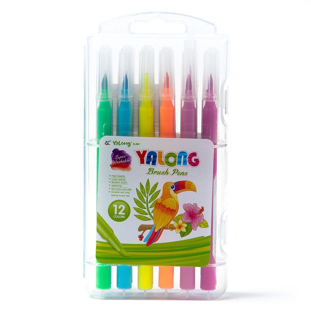 Фломастеры 12 цв Yalong кистевидные пл пенал
