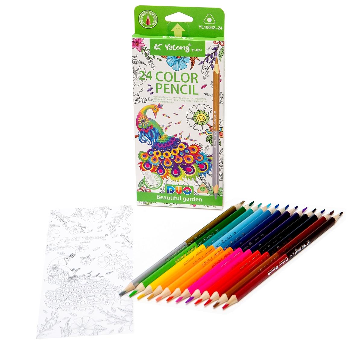 Карандаши цветные 24 цв Yalong 12 шт двухсторон трехгран к/к