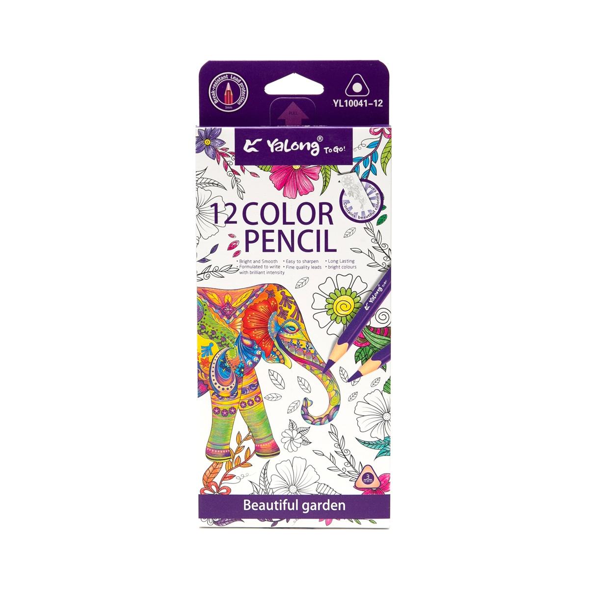 Карандаши цветные 12 цв Yalong трехгран к/к