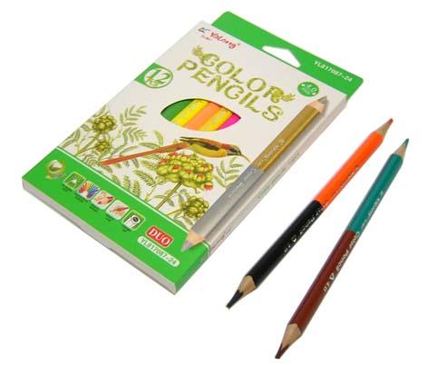 Карандаши цветные 24 цв Yalong 12шт двухсторон трехгранные к/к