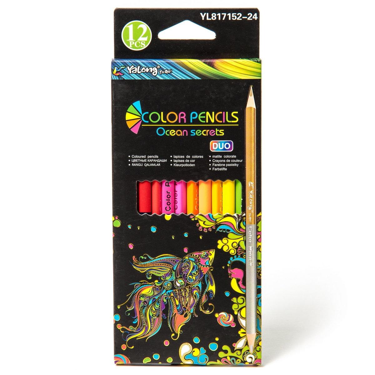 Карандаши цветные 24 цв Yalong 12шт двухсторон трехгран к/к