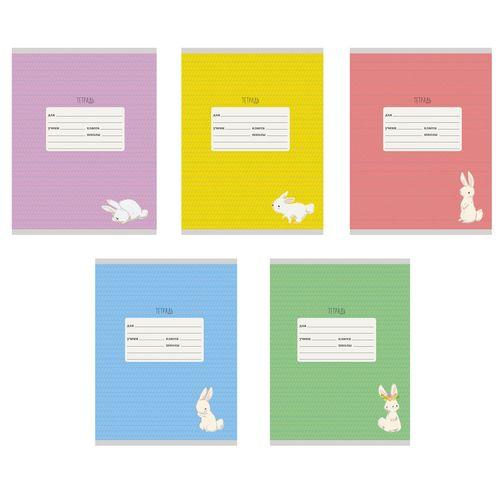 Тетрадь 12л линейка косая Однотонная с рис Белый кролик