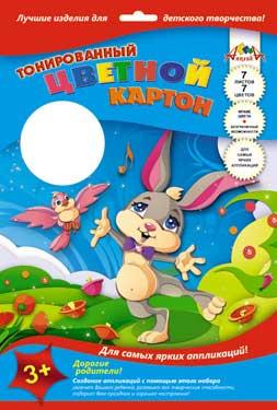 Картон цветной А4 7л 7цв тонир Кролик