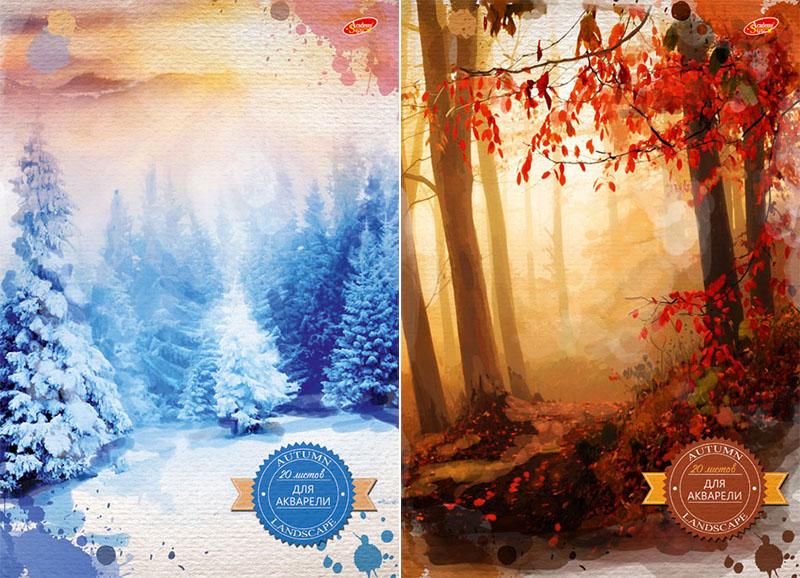 Альбом д/акварели А4 20л Акварель: лес склейка