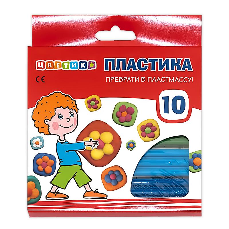Творч Пластика 10цв Цветик 200гр