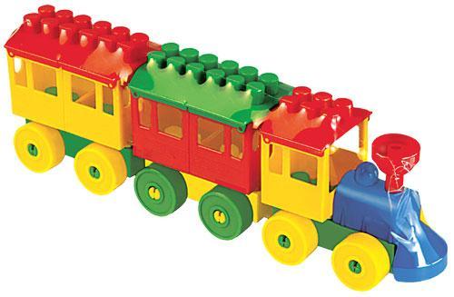 Конструктор Паровоз с двумя вагонами пласт.32см