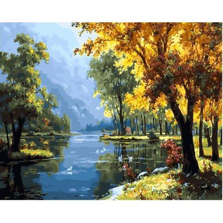 Картина по номерам 40*50 Осеннее озеро