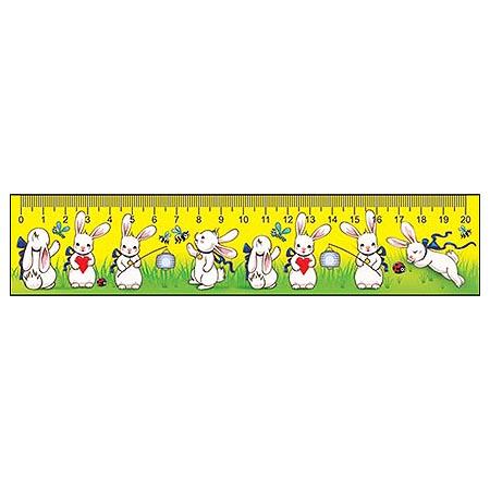 Закладка-линейка 20см Зайки + табл. умножения