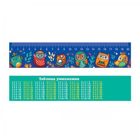 Закладка-линейка 20см Совы + табл/умножения