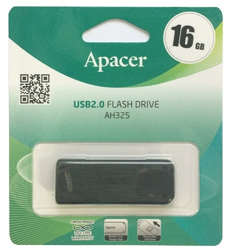 Флэш-карта 16GB Apacer USB AH325 Black