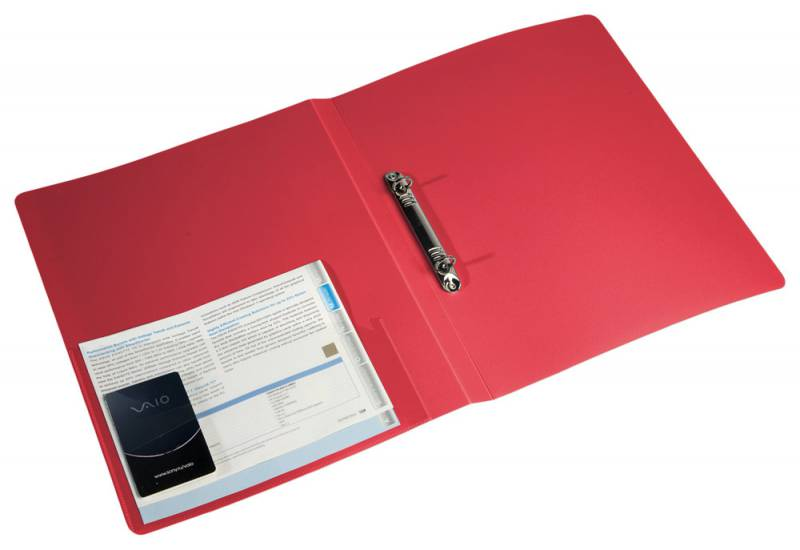 Папка с 2 кольцами 18мм Бюрократ красный + карман 0,7мм