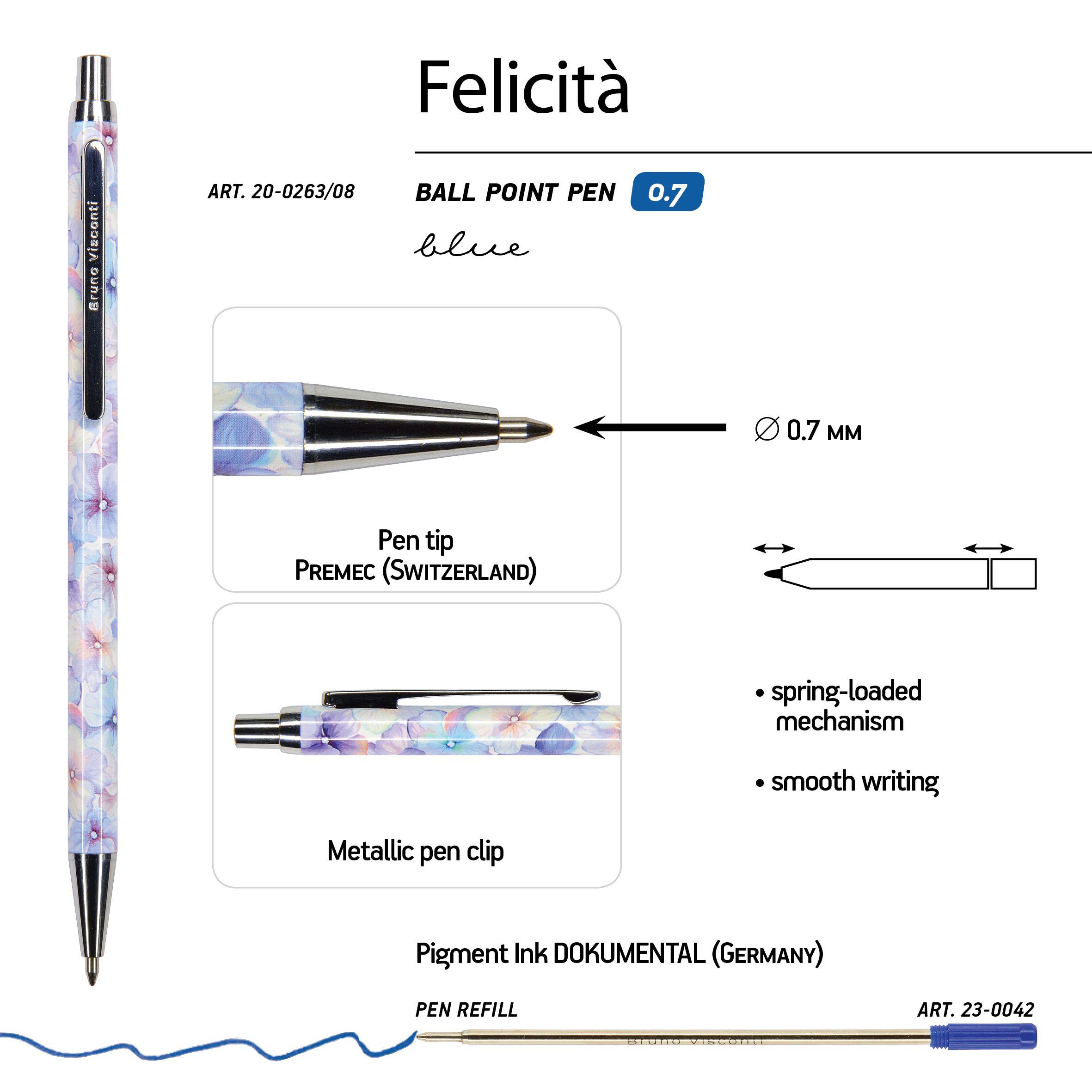 Ручка подар. BV синяя 0,7мм Felicita авт Цветы, Нежность