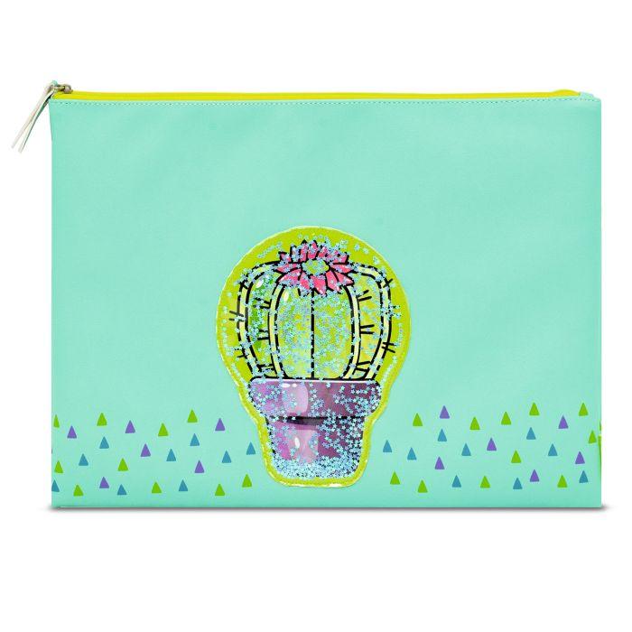 Папка на молнии А4 Кактус с цветком кожзам зеленая