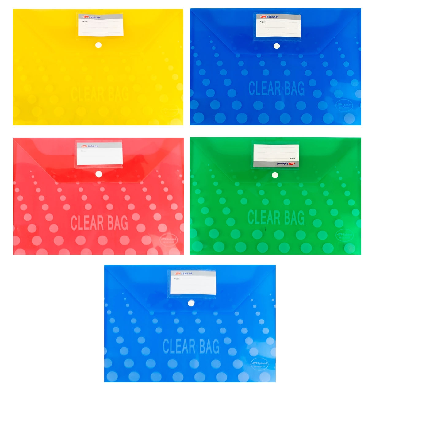 Папка-конверт А4 на кнопке Alingar Clear Bag прозр красная 150мкм карм